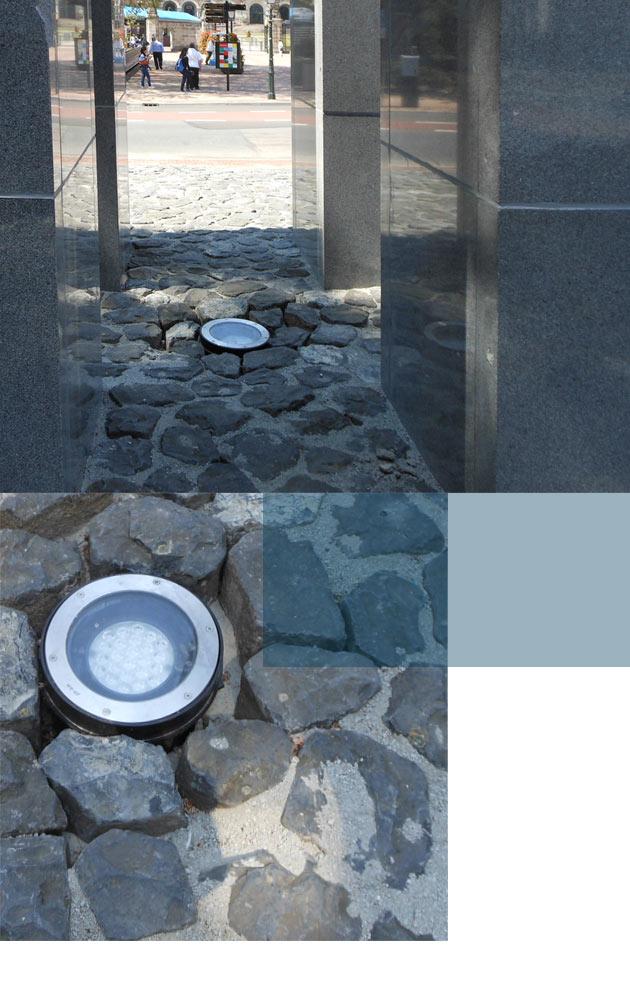 Vandaalbestendige verlichting en armaturen van RXLight lichten een monument in Den Haag uit.